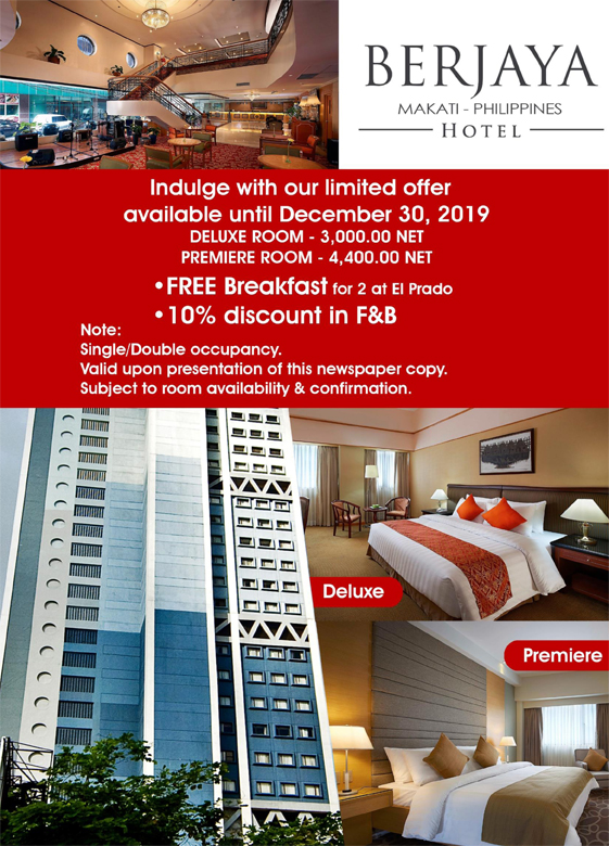 Berjaya Hotel, Makati, Philippines Indulge with our limited offer available until December 30, 2019 - Free Breakfast for 2 at El Prado - 10% Discount in F&B Single/Double occupancy Valid upon presentation of this newspaper copy Subject to room availability & confirmation